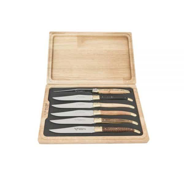 Biffkniver 6 stykker av blandet tre